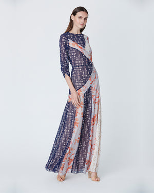EVELYN SPLICED MAXI DRESS IN KALAIDESCOPE