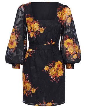 IBIZA MINI DRESS IN NOIR SUNFLOWERS