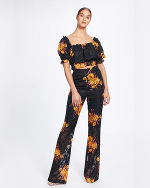 IBIZA FLARES IN NOIR SUNFLOWERS