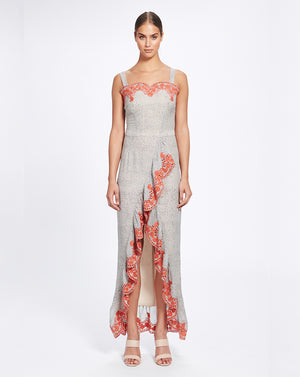 ARGENTINA RUFFLE MAXI DRESS IN FLAMENCO SPOT