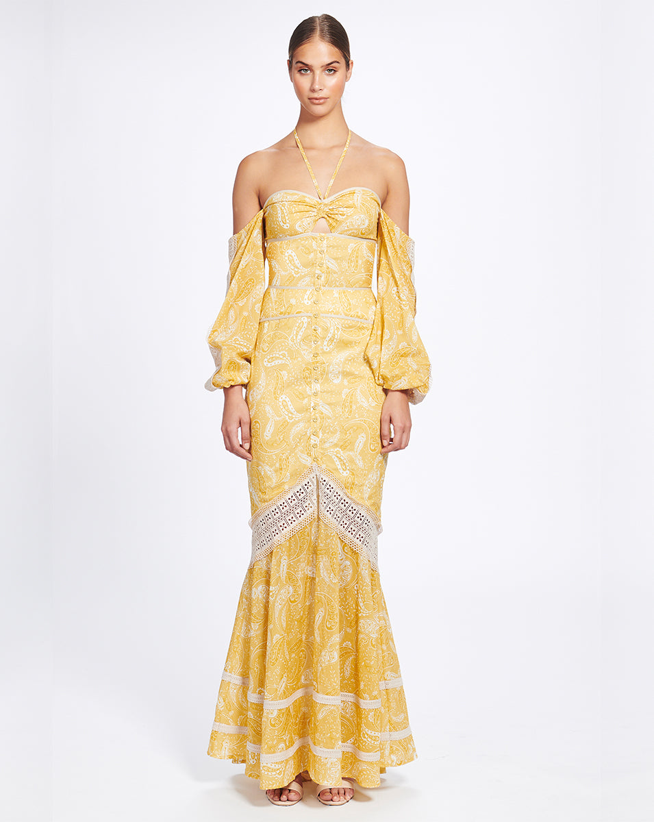 SORRENTO MAXI DRESS IN SUNFLOWER PAISLEY