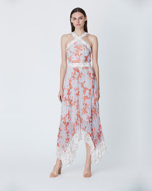 ALICE PLEATED MIDI DRESS IN SKY PAISLEY