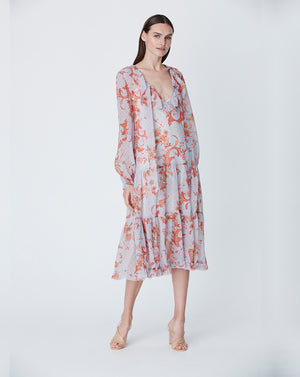 ALICE MIDI DRESS IN SKY PAISLEY
