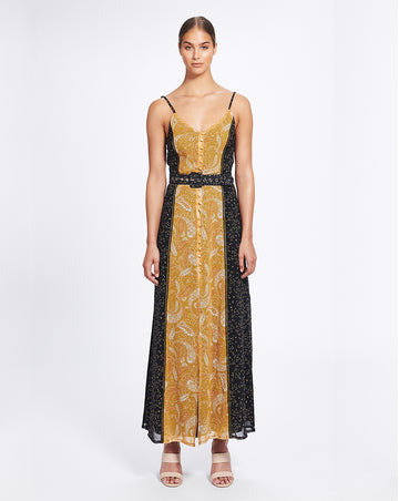 AMALFI SLIP DRESS IN SPLICED SUNFLOWER