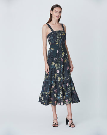 HAZEL COTTON DAY DRESS IN BLACK DELPHINIUM