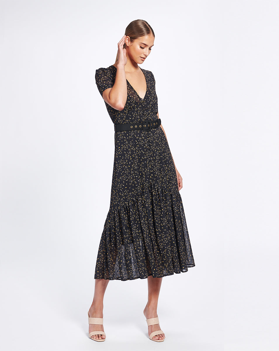 MARSEILLE MIDI DRESS IN NOIR DITSY
