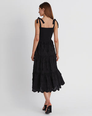 AVRIL MIDI DRESS IN BLACK CAMELIA