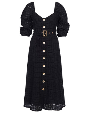 VIENNA MIDI DRESS IN NOIR
