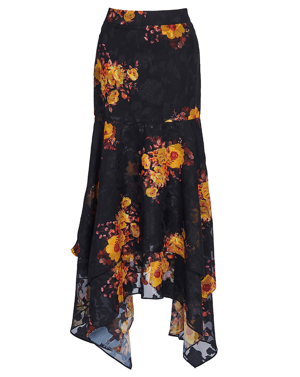 IBIZA SKIRT IN NOIR SUNFLOWERS