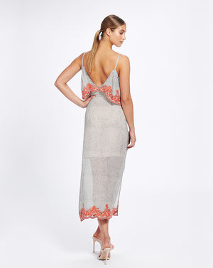 ARGENTINA SLIP DRESS IN FLAMENCO SPOT