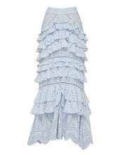 LOLA RUFFLE MAXI SKIRT IN SKY