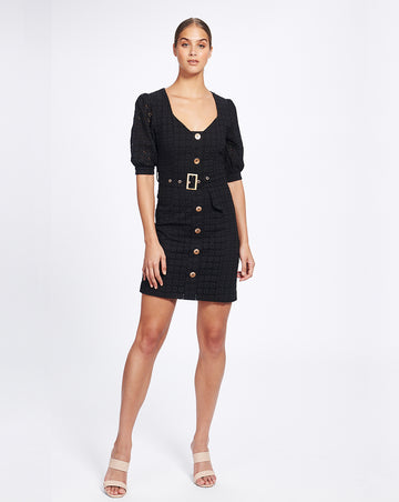 VIENNA SWEETHEART MINI DRESS IN NOIR
