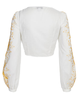 TROPEZ BOW FRONT BLOUSE IN SUNSET PAISLEY