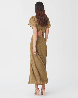 VIRGINIA OPEN BACK MAXI DRESS IN OLIVE SPOT