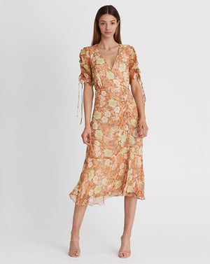 GISELA SILK LUREX MIDI DRESS IN BURNT ORANGE
