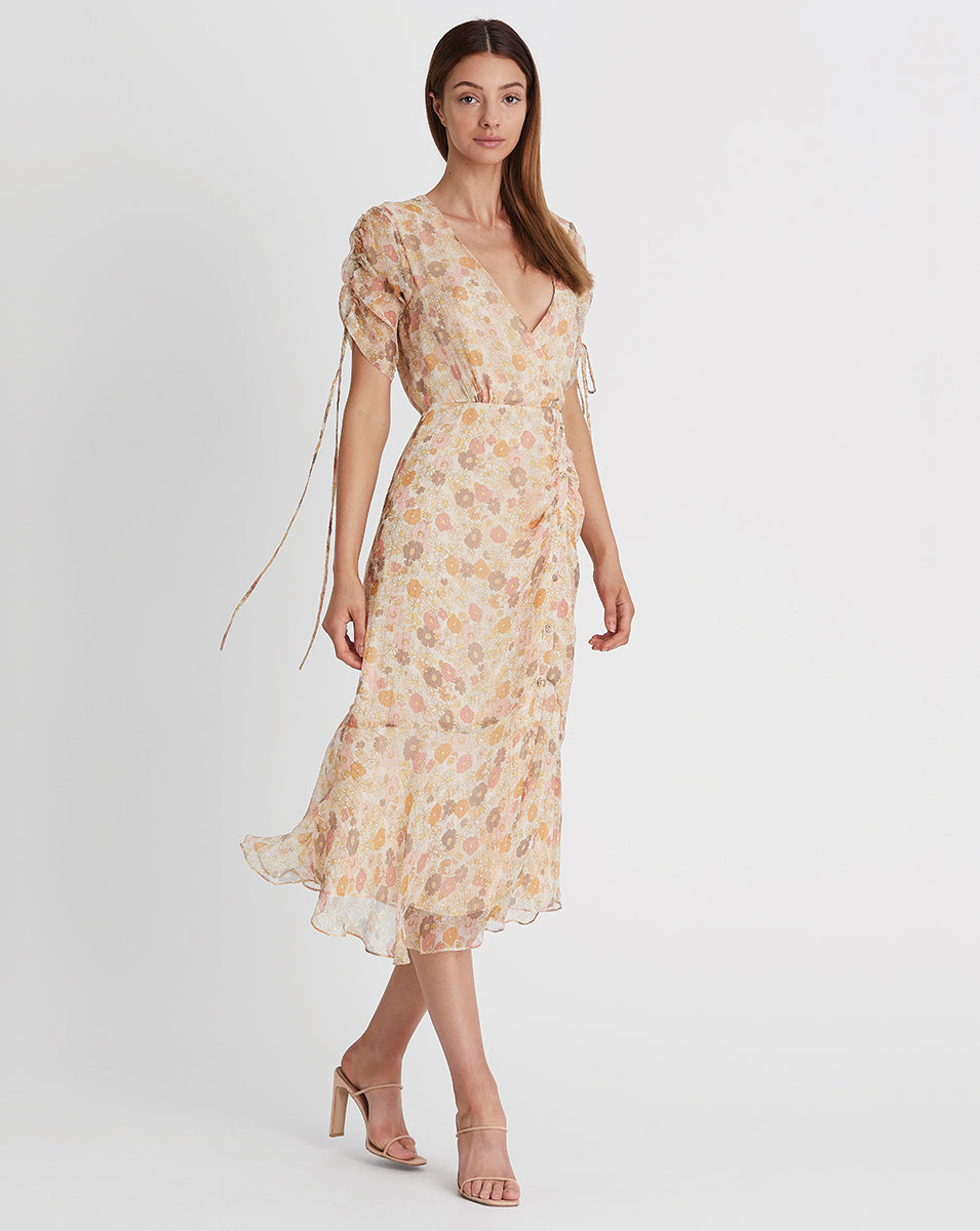 GISELA SILK LUREX MIDI DRESS IN DAISY