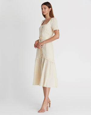 MARLY BUTTON THROUGH DRESS IN WHEAT