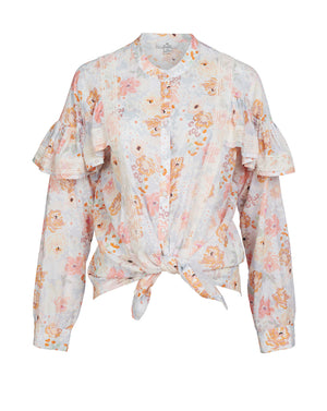 JESSA FRILL SLEEVE BLOUSE IN SUNNY FLORAL