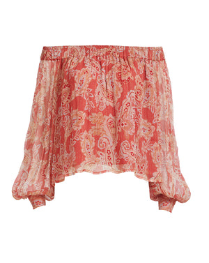 GWENDOLYN SILK BLOUSE IN ROSE PAISLEY
