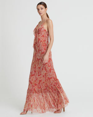 GWENDOLYN SILK BIAS DRESS IN ROSE PAISLEY
