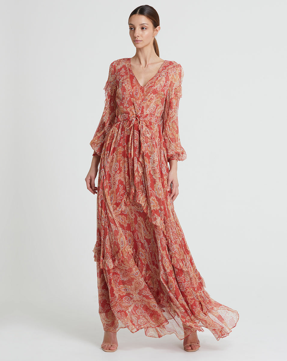 GWENDOLYN SILK LUREX MAXI DRESS IN ROSE PAISLEY