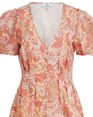 BIRDIE LINEN TEA MINI DRESS IN ROSE PAISLEY