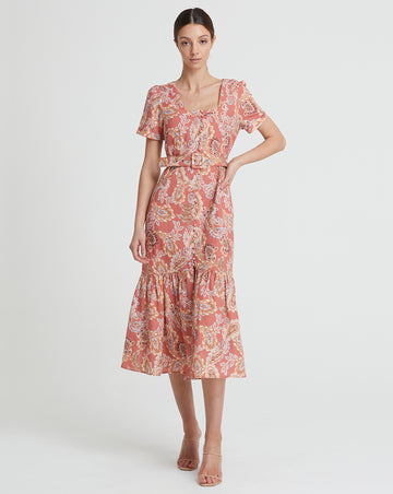 BIRDIE LINEN BUTTON THROUGH MIDI IN ROSE PAISLEY