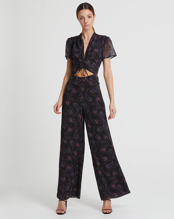 LILY ROSE SHIRRING JUMPSUIT IN DARK DAISY