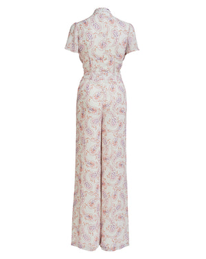 LILY ROSE SHIRRING JUMPSUIT IN DAISY PAISLEY