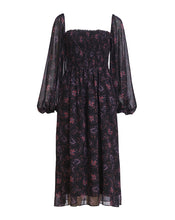 LILY ROSE SHIRRING MIDI DRESS IN DARK DAISY