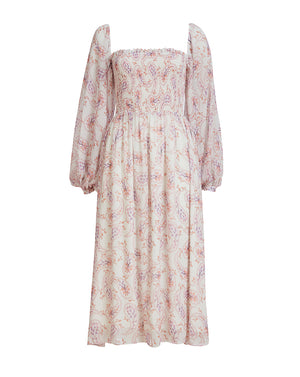 LILY ROSE SHIRRING MIDI DRESS IN DAISY PAISLEY