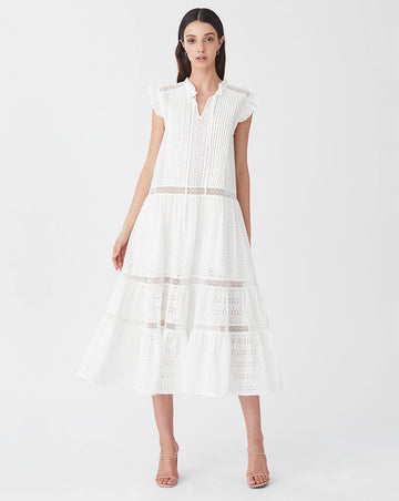BRONTE RELAXED MIDI DRESS IN WHITE