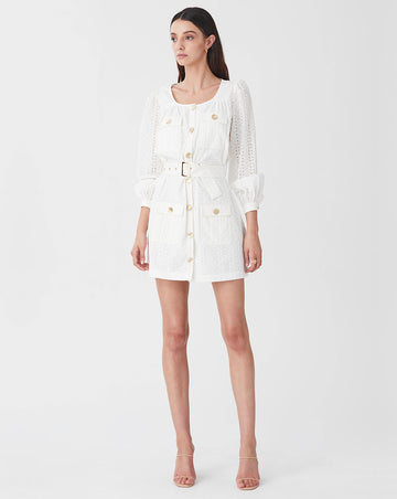 BRONTE UTILITY MINI DRESS IN WHITE