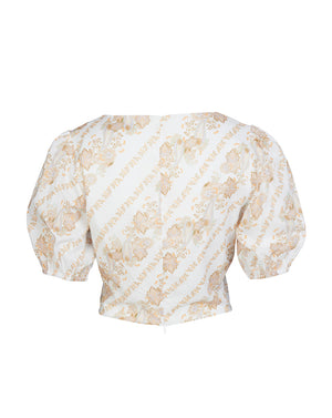 BRONTE BUSTIER BLOUSE IN WHITE PAISLEY