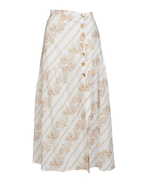 BRONTE MIDI SKIRT IN WHITE PAISLEY