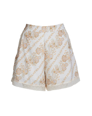 BRONTE SHORTS IN WHITE PAISLEY