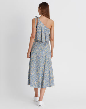 KINDRED HOLIDAY | ASYMMETRIC DRESS IN BLUE FLORAL
