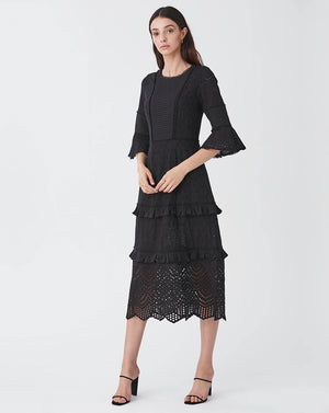 LUA PINTUCK MIDI DRESS IN BLACK