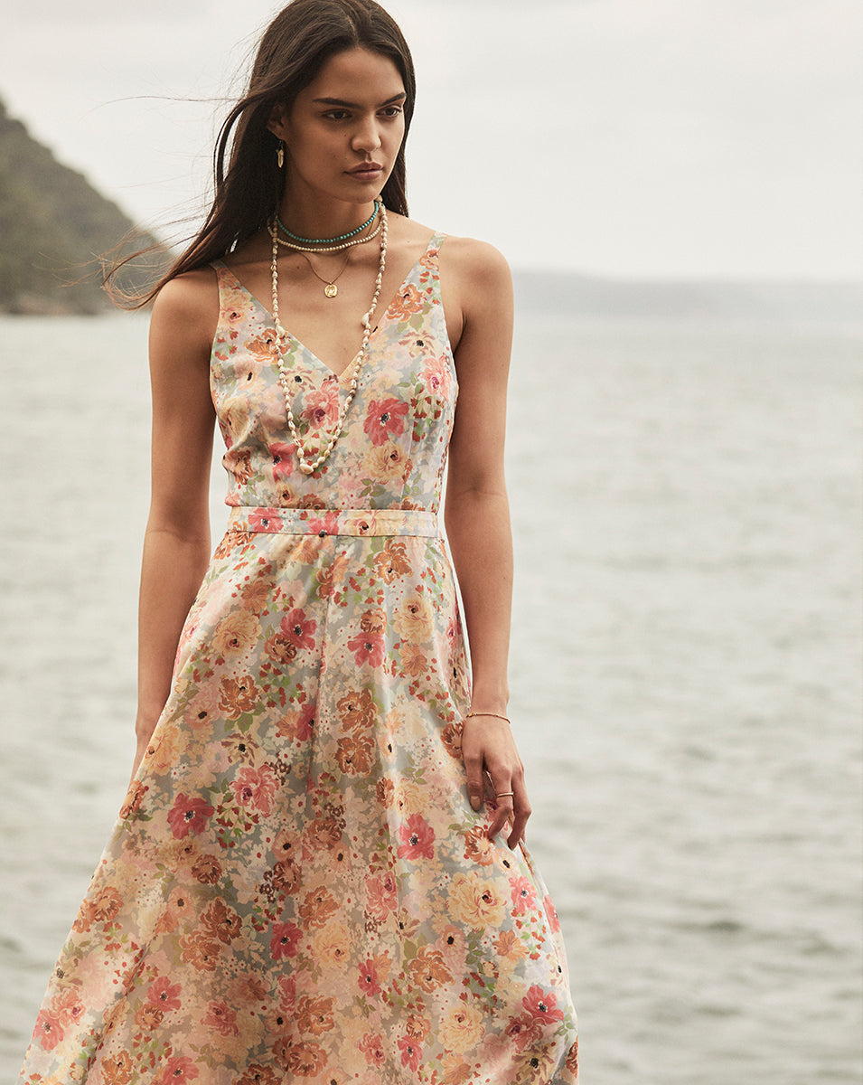 CLEO BOW BACK DRESS IN SUNNY FLORAL