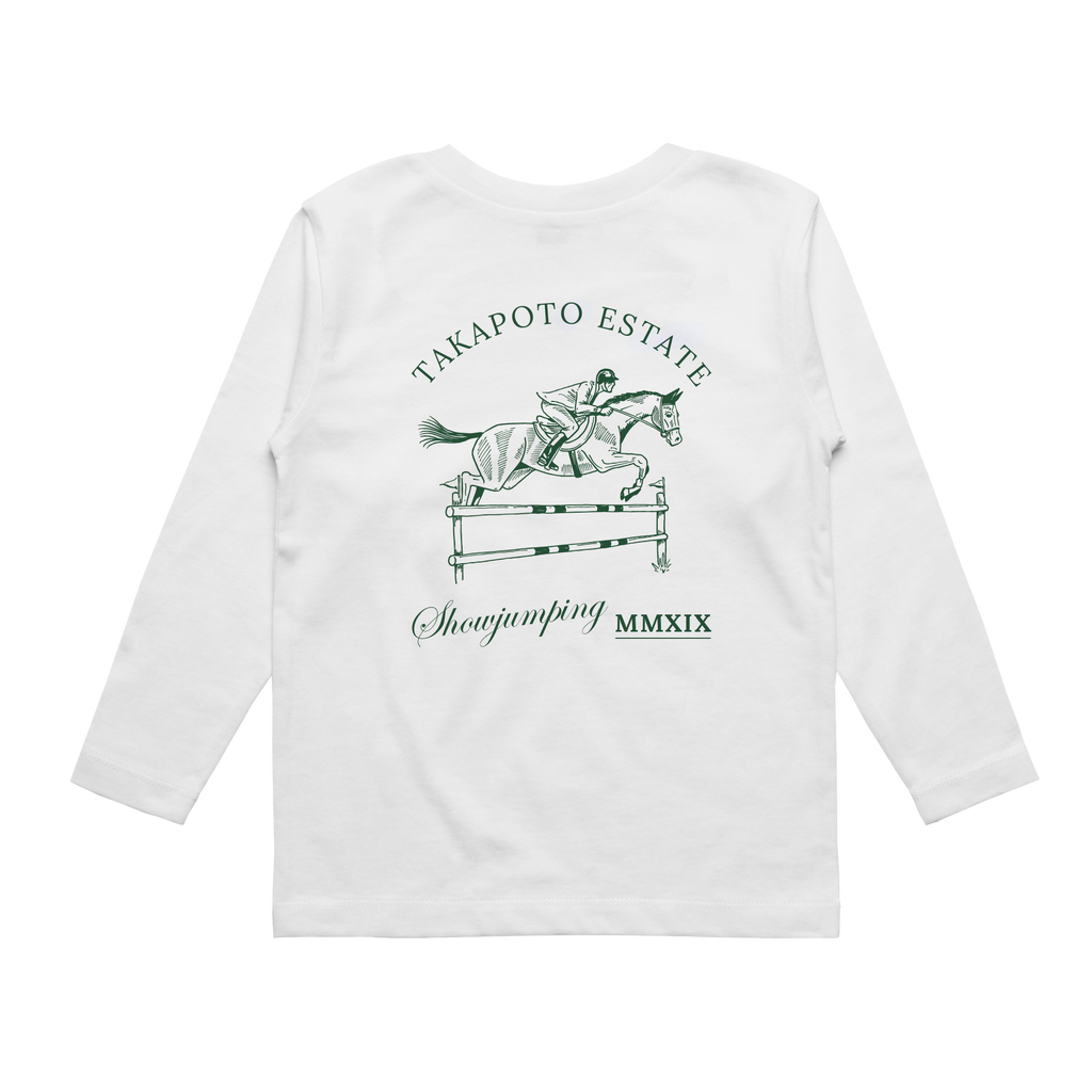 Youth Long Sleeve Tee | White, Green & Red