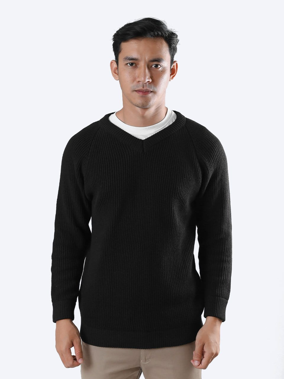 V-Neck Cord Raglan Black