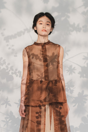 Brown organza pleated top