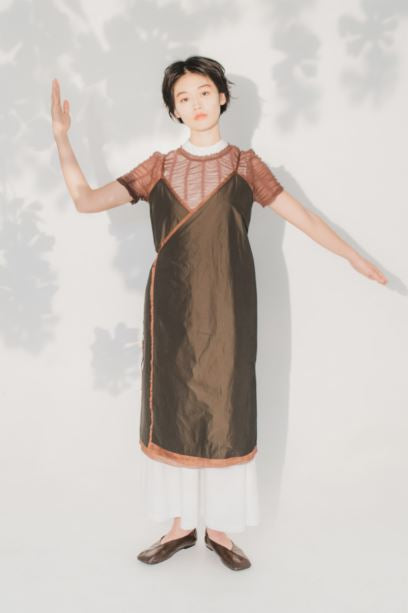 Brown waterproof wrap dress