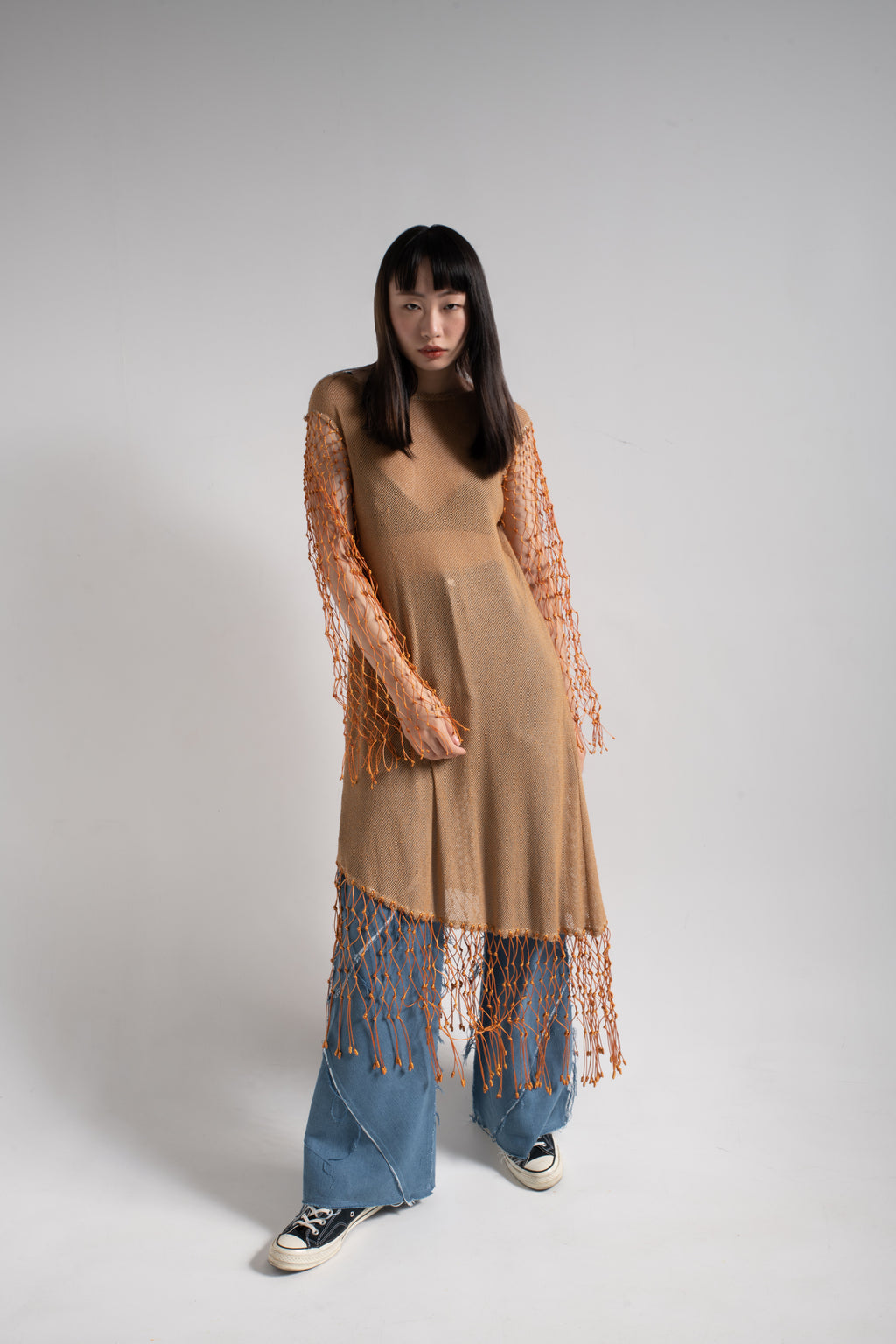Hand weave long sleeve fish net dress