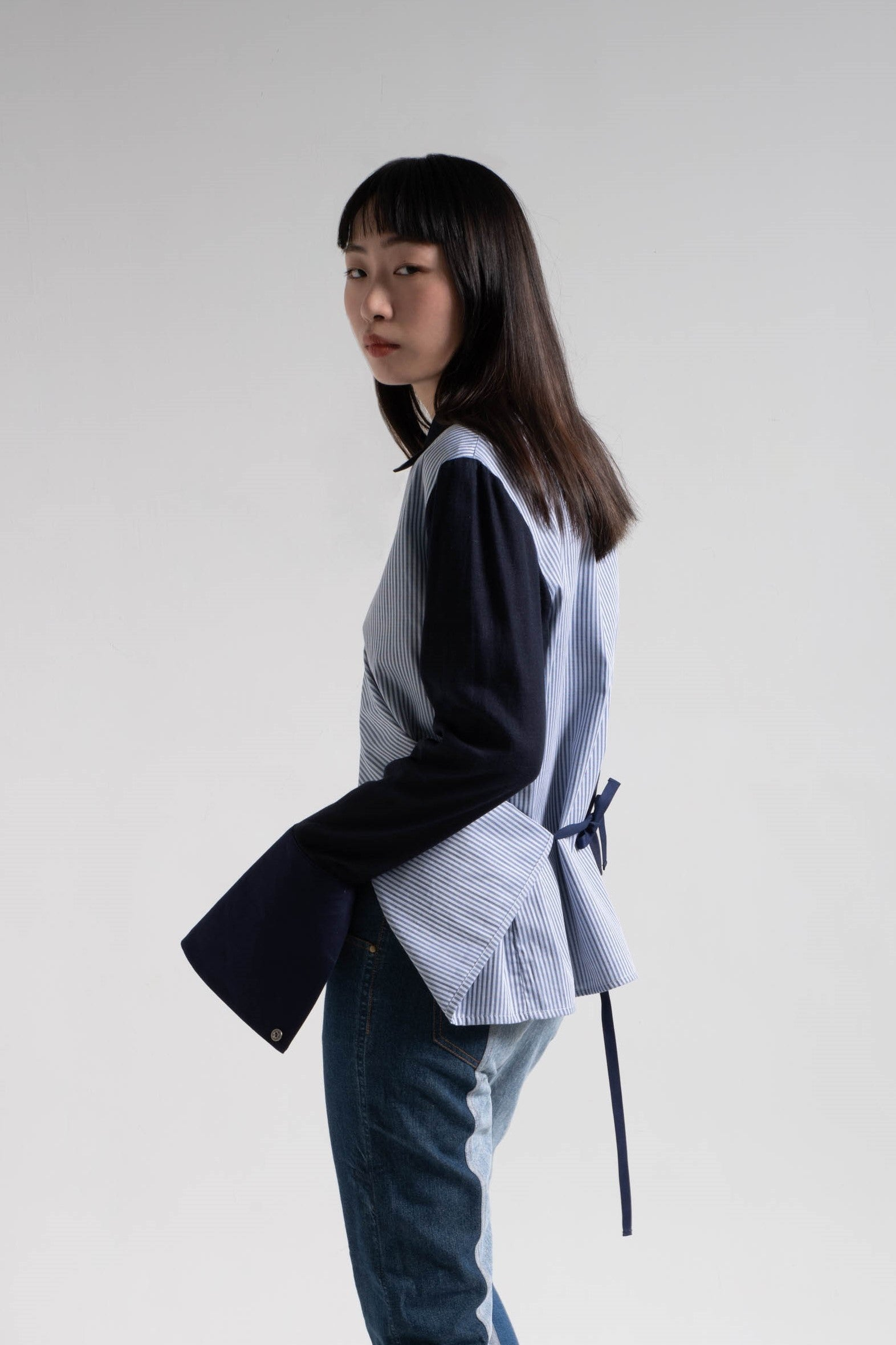 Patched fabric overlap shirt
