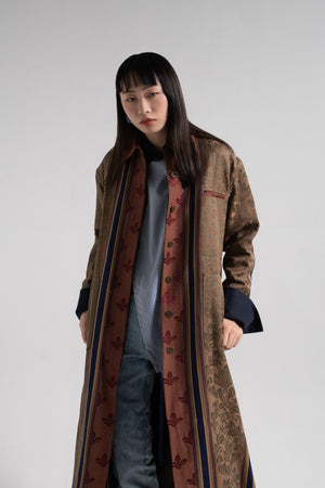 Red jacquard pattern oversize coat