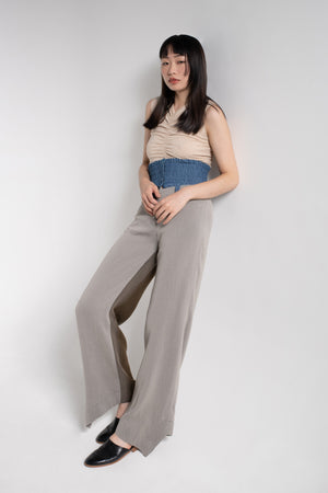 Suit pants with denim elastic waistband