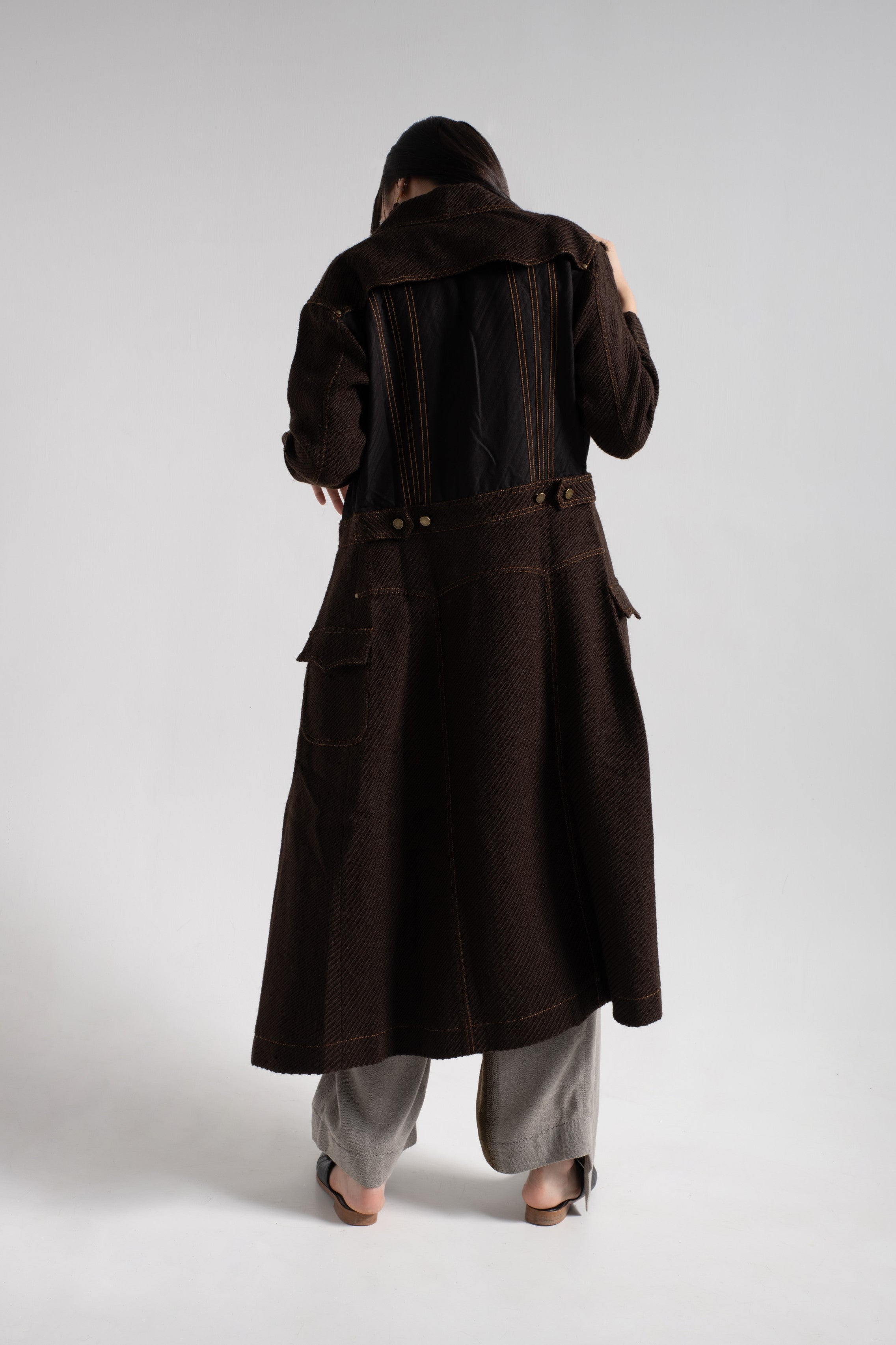 Brown wool denim long coat