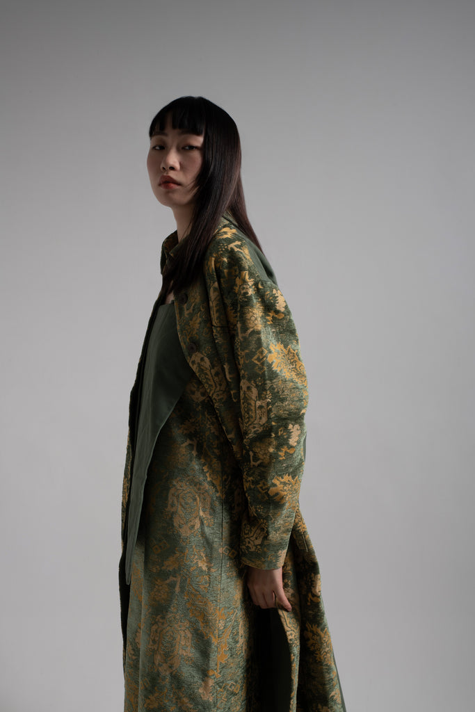 Green jacquard pattern oversize coat