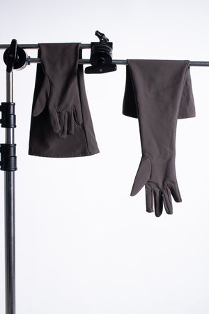Dark brown long gloves